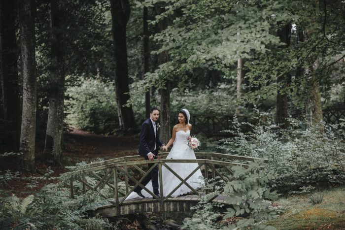 Margeretetorp, bröllop, par i parken.